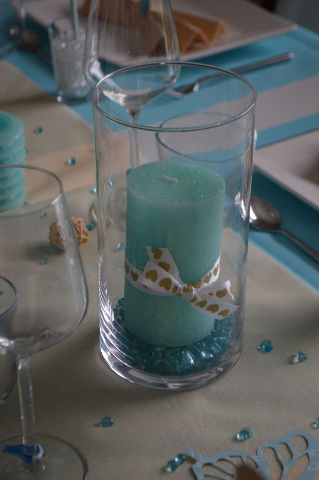 Déco de table bleu lagon et lin