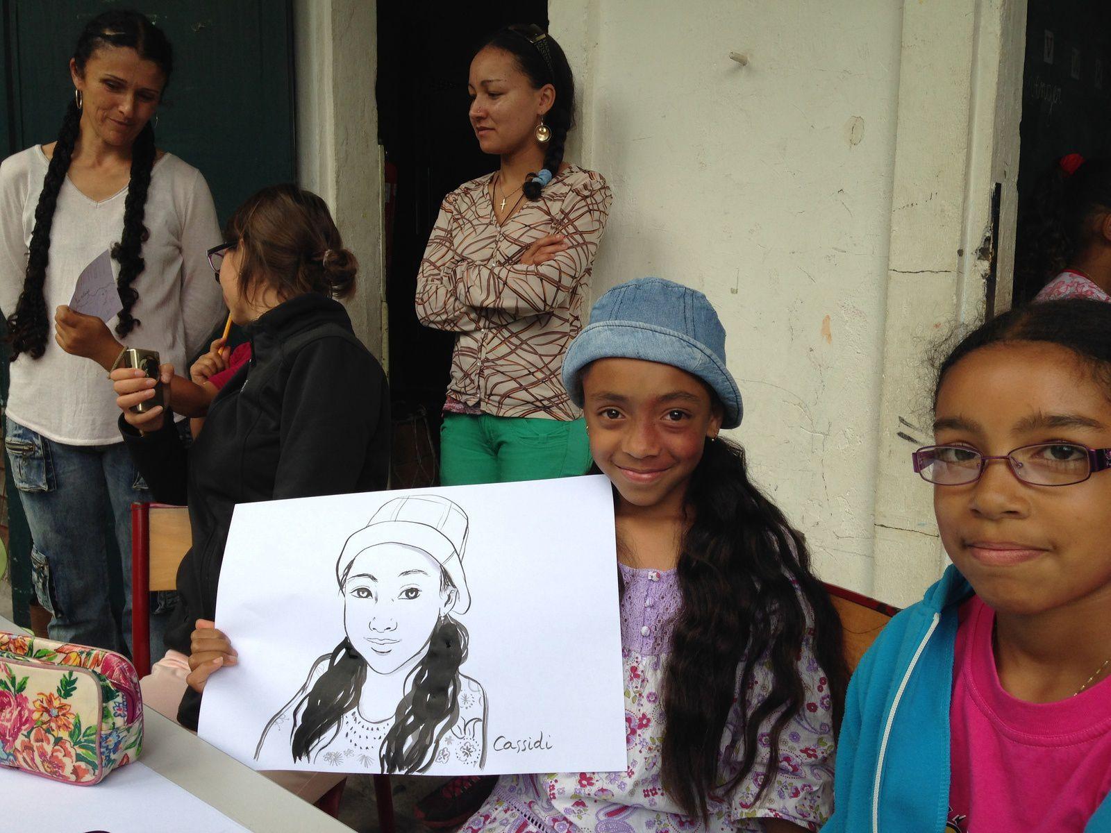 Cirque de Mafate à La Réunion, portraits de tous les enfants de l'école, les dessins sont restés là bas. Salon du livre de l'Océan Indien.