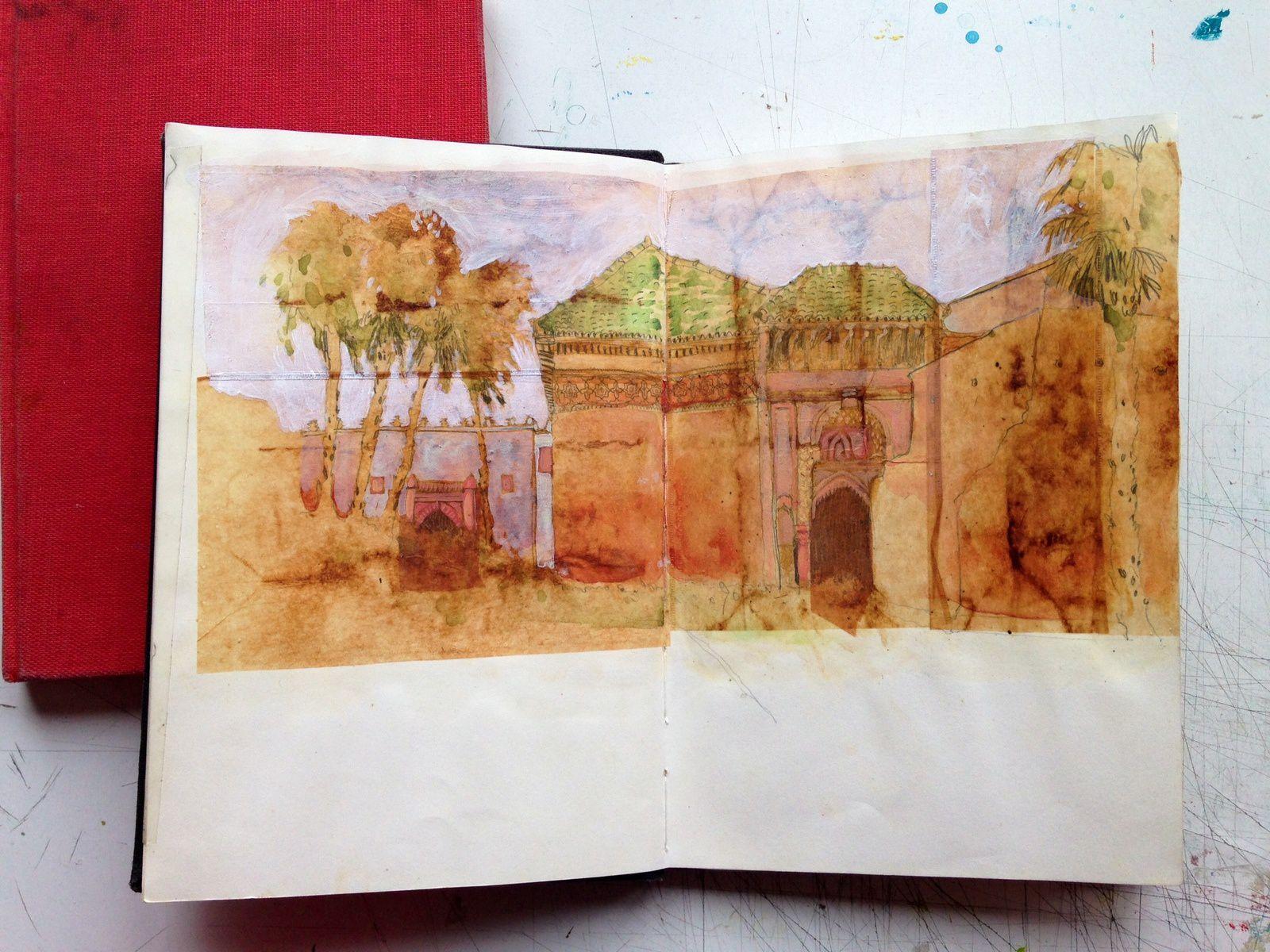 Maroc, septembre 2003, 2 carnets, écriture d'une quinzaine de textes courts. Collage de feuilles de sachet de thé, encre de chine, pigment ocre, aquarelle.