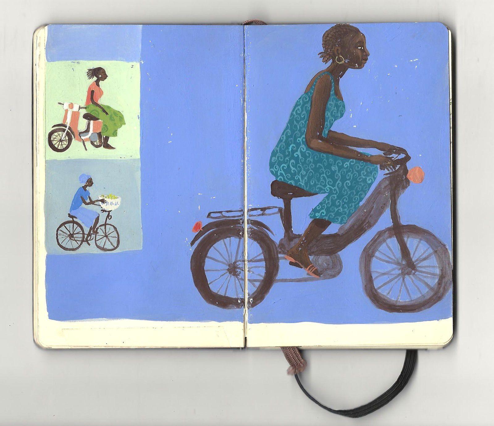 Burkina Faso, 2004, petit carnet qui tient dans la poche, peinture acrylique. Depuis l'adolescence je pratique la photographie argentique, qui m'accompagne aussi à chacun de mes voyages.