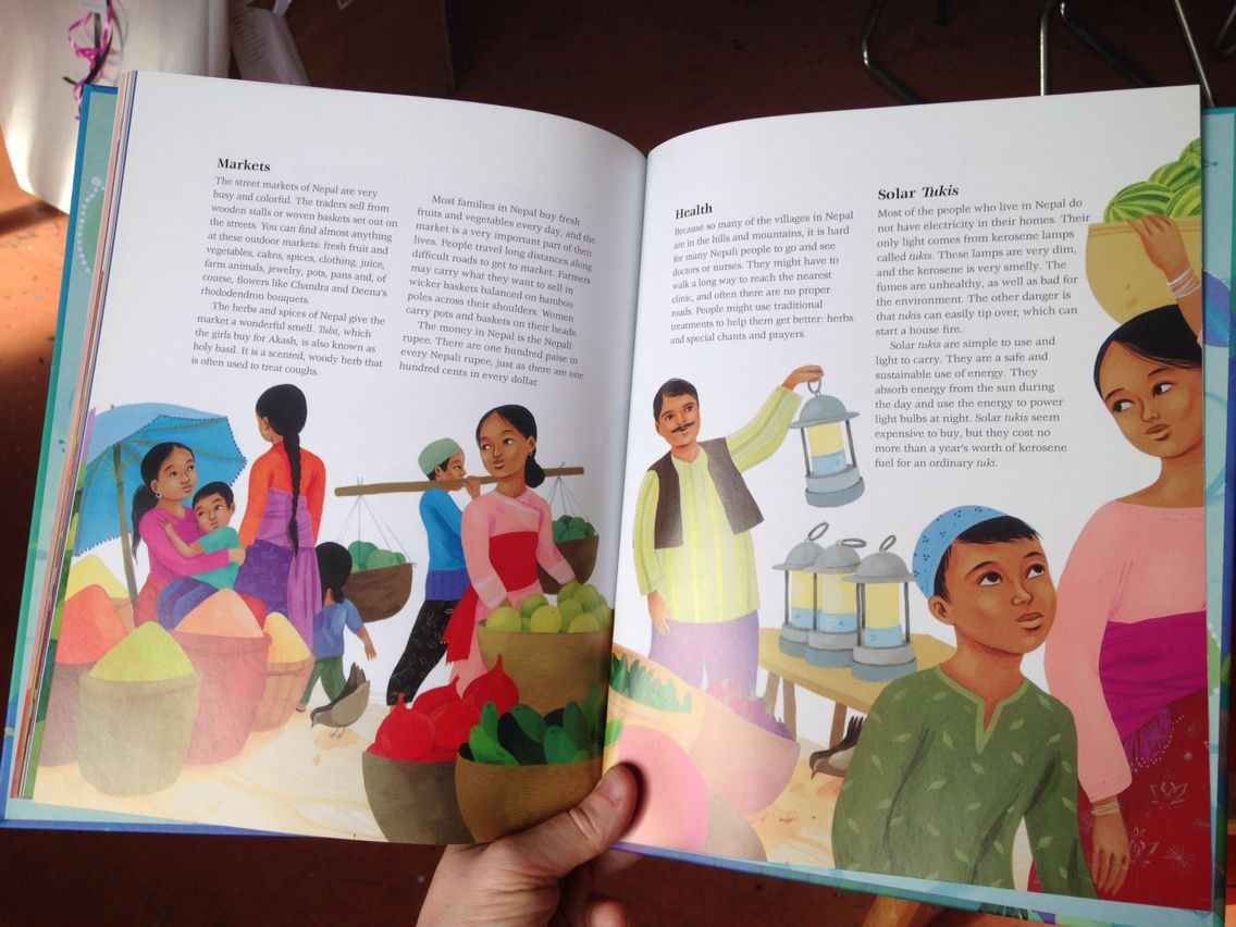Je les ai reçu ce matin from Cambridge!!! Un conte écologique Népalais à paraître en format souple, cartonné ou numérique aux éditions Barefoot Books, distribués aux Etats Unis et Royaume Uni.