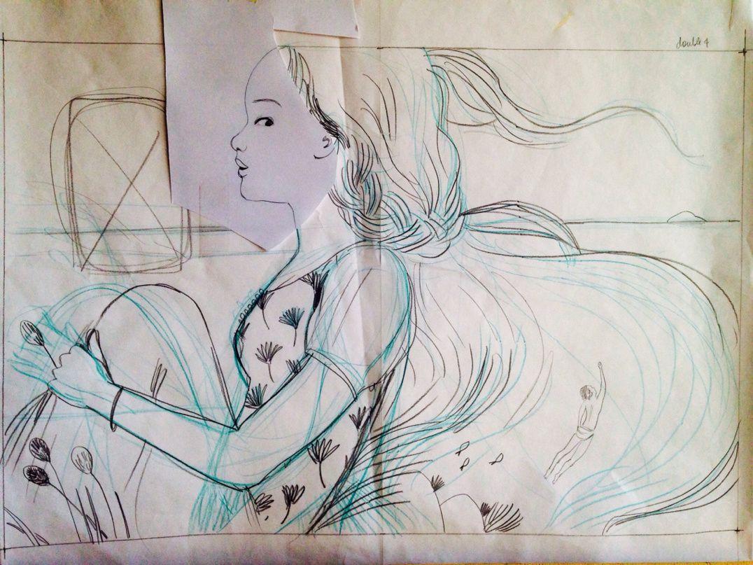 Premiers crayonnés et planches couleurs, réalisées à la peinture acrylique.