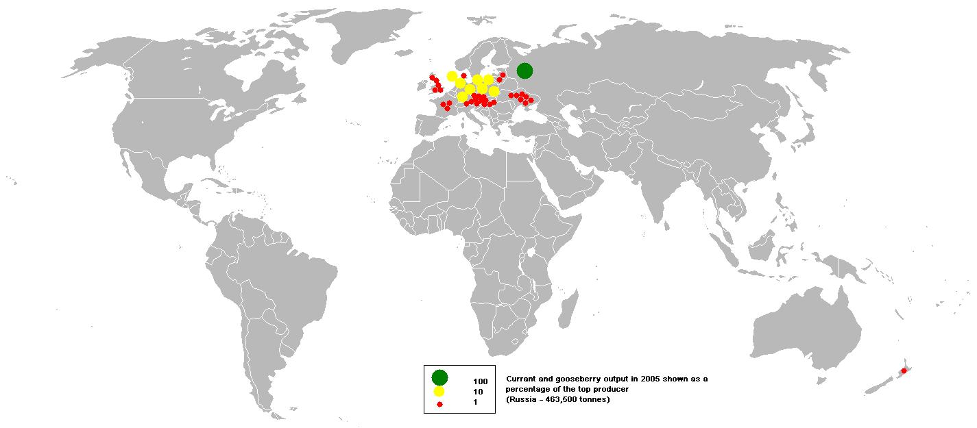 Production mondiale de cassis et de groseillier à maquereau en 2005