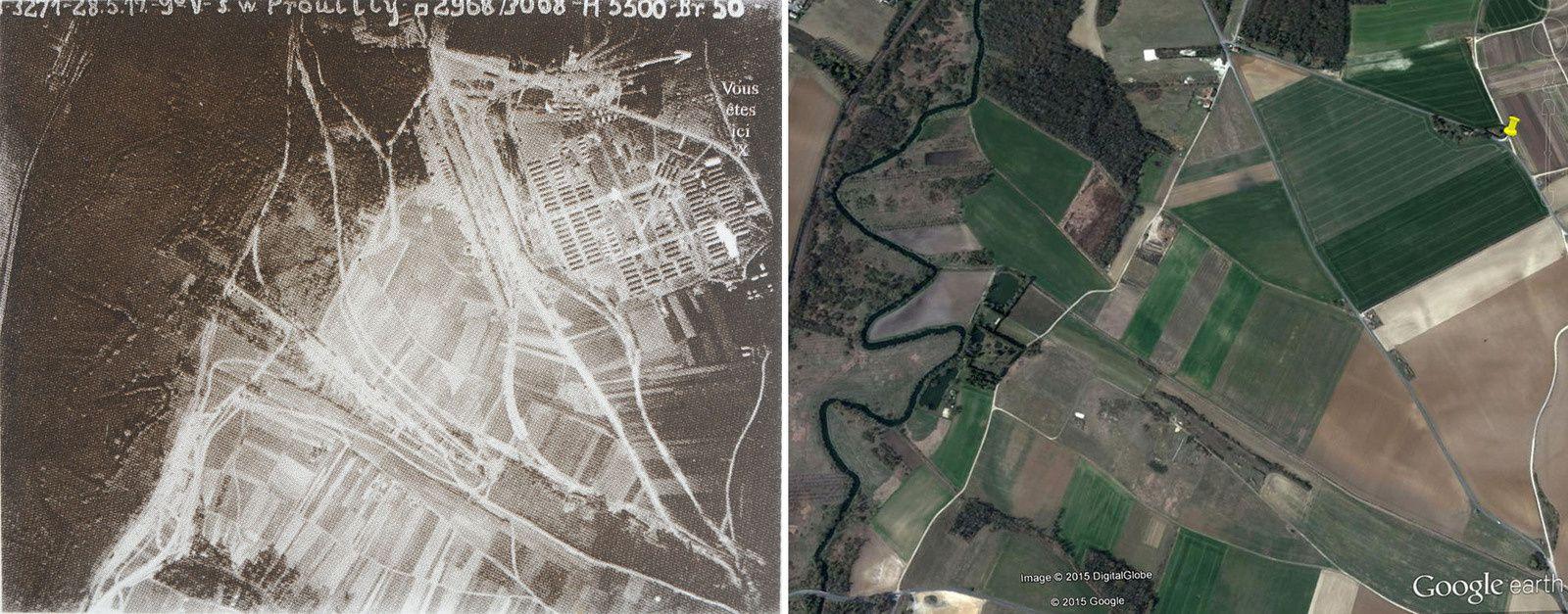 Le Nord est indiqué par la flèche sur la photo N&B. C'est la Vesle qui serpente sur la gauche.