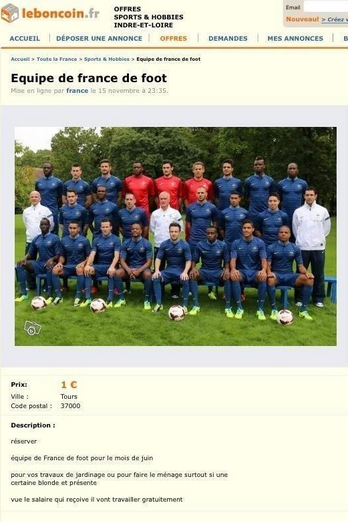 Un internaute met en vente l'équipe de France sur Le Bon Coin pour 1 euros !