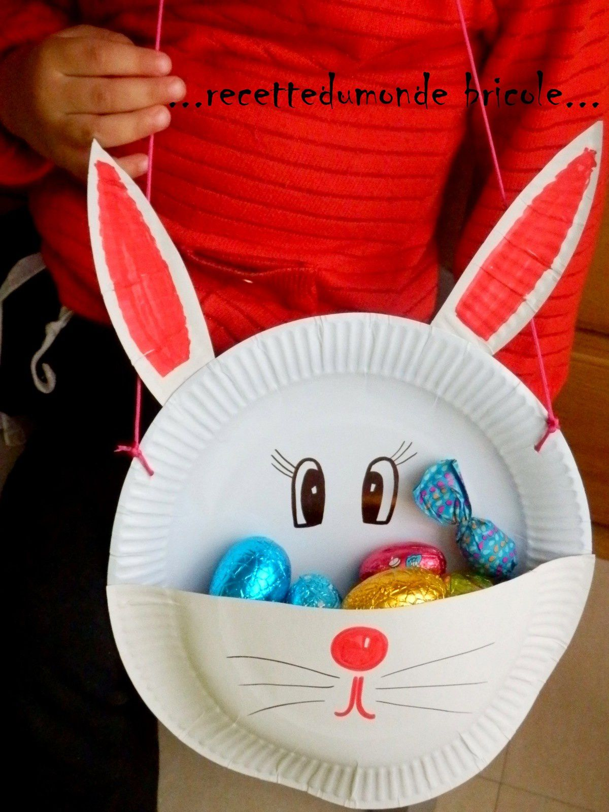Panier de p ques un lapin en assiette carton enfant b b loisir - Fabrication panier de paques ...