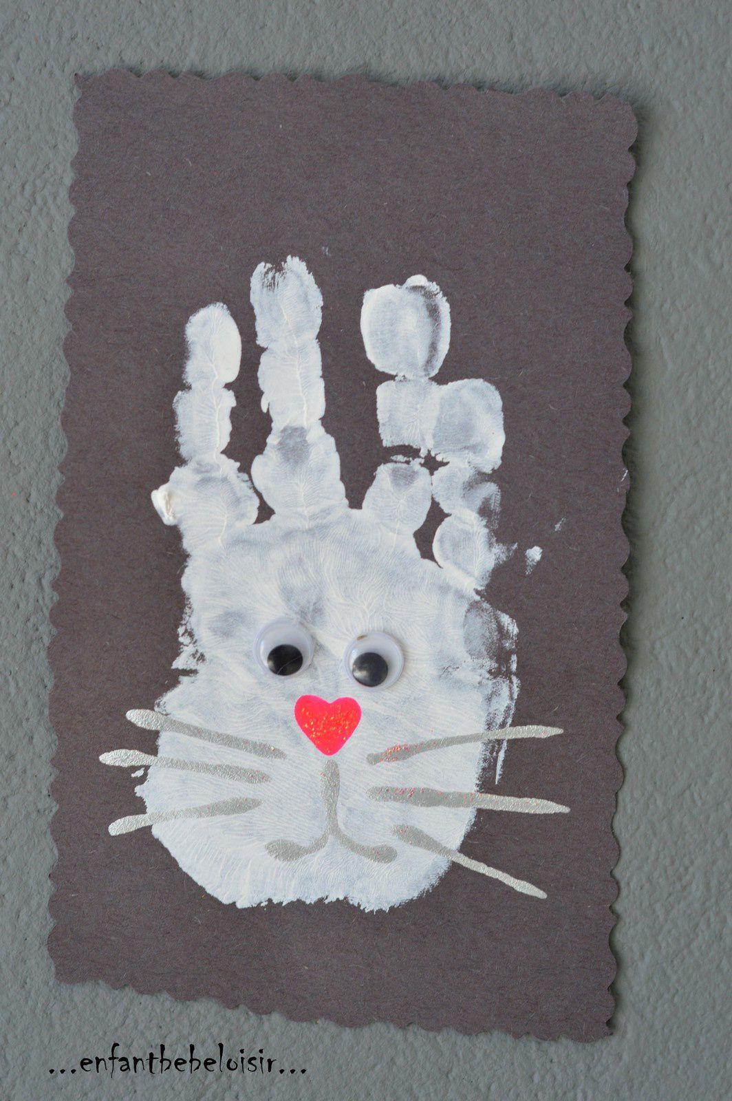 Un lapinou de p ques peinture l 39 emprinte enfant b b loisir - Loisirs creatifs pour enfants ...
