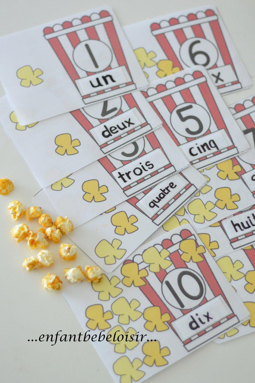Cartes à compter pop corn