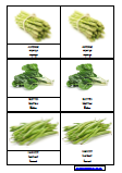 Cartes de nomenclature les légumes - doublées - script cursive