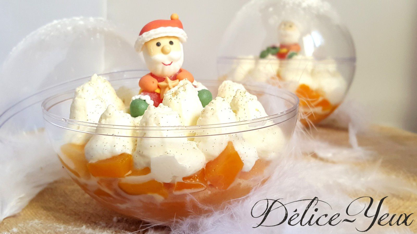 Boules de Noël {Mangue &amp&#x3B; Chantilly mascarpone vanille}