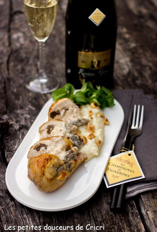 Suprêmes de pintade farçis aux morilles et sa purée de céleri aux noisettes... Et Champagne pour Vous !!!