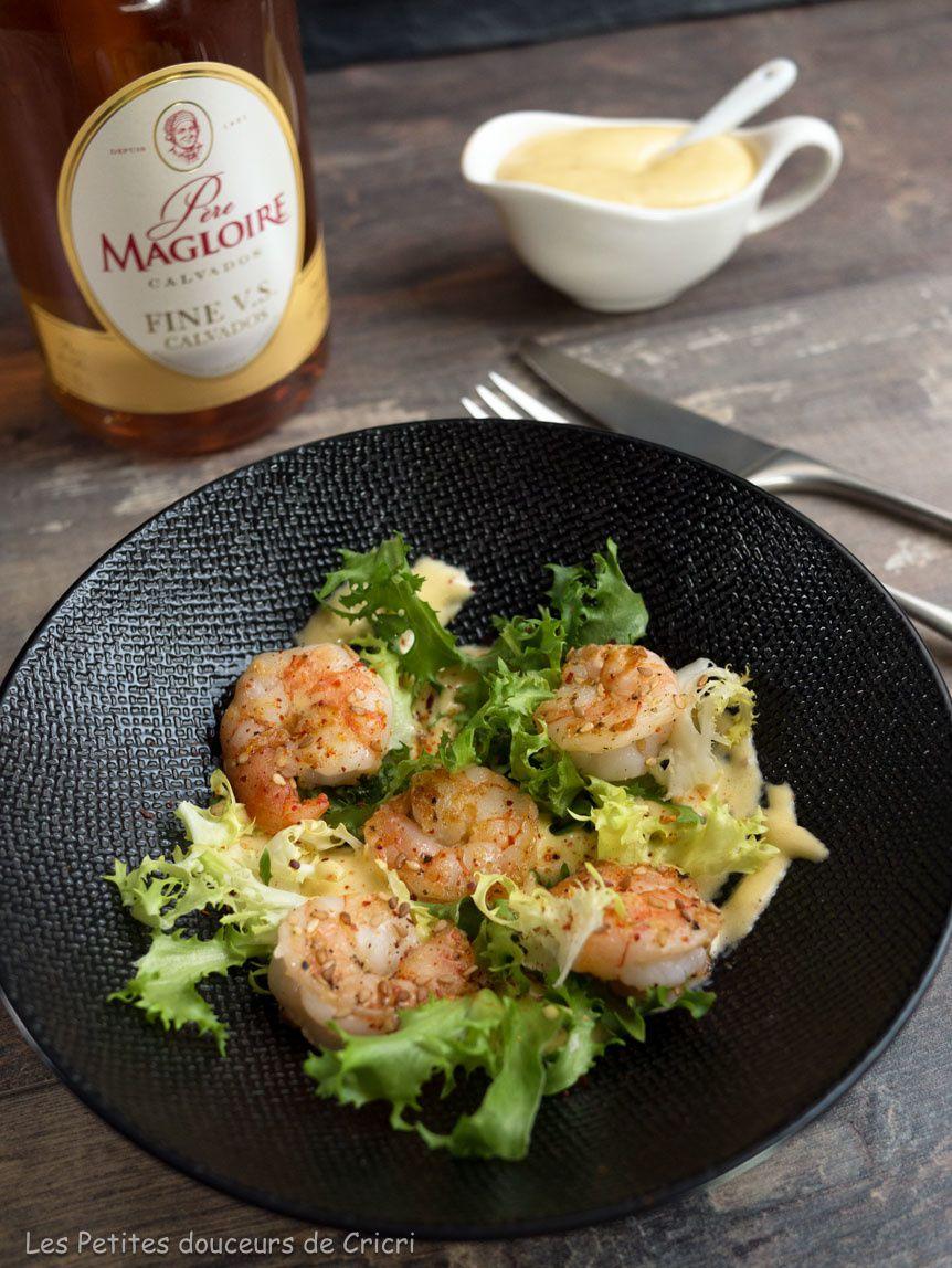 Crevettes grillées et sabayon au Calvados Père Magloire