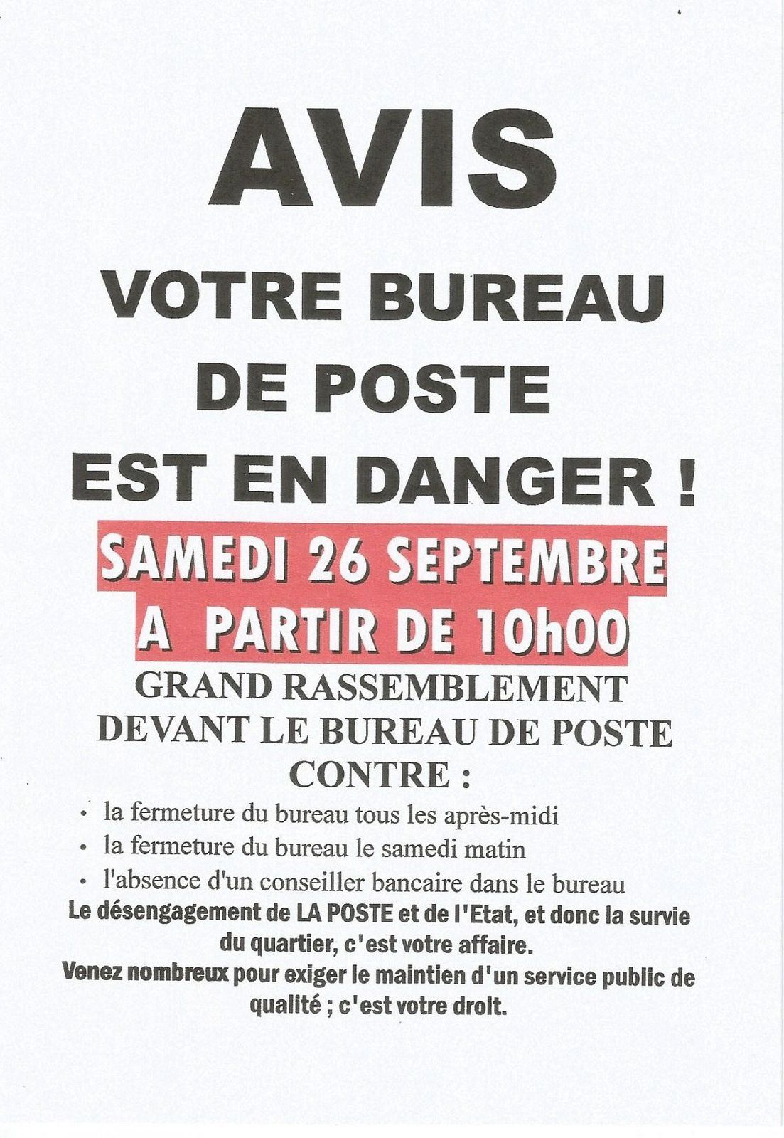 participation au rassemblement pour la d fense du bureau de poste de brive tujac le 26 septembre. Black Bedroom Furniture Sets. Home Design Ideas
