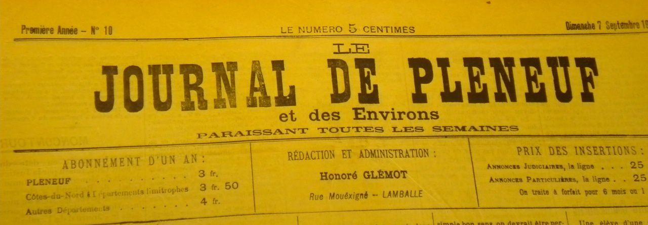 """Quelques brèves du """" Journal de Pléneuf """""""