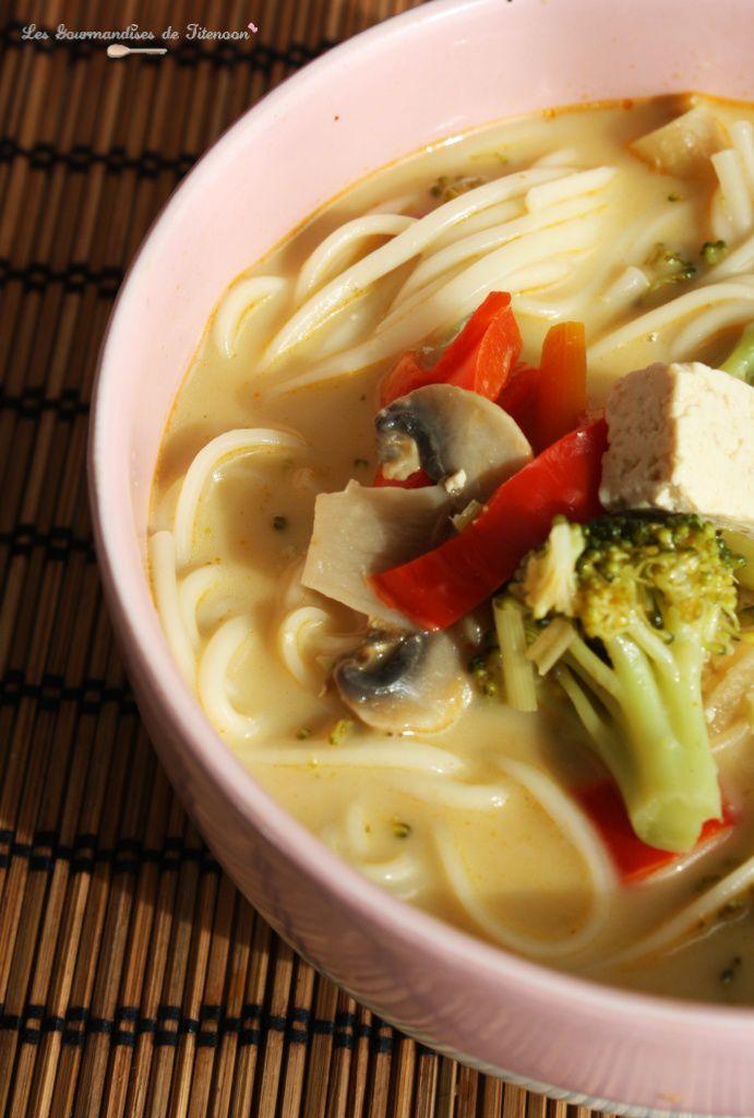 Soupe Thaï Pâte de Curry Rouge & Pâtes Udon