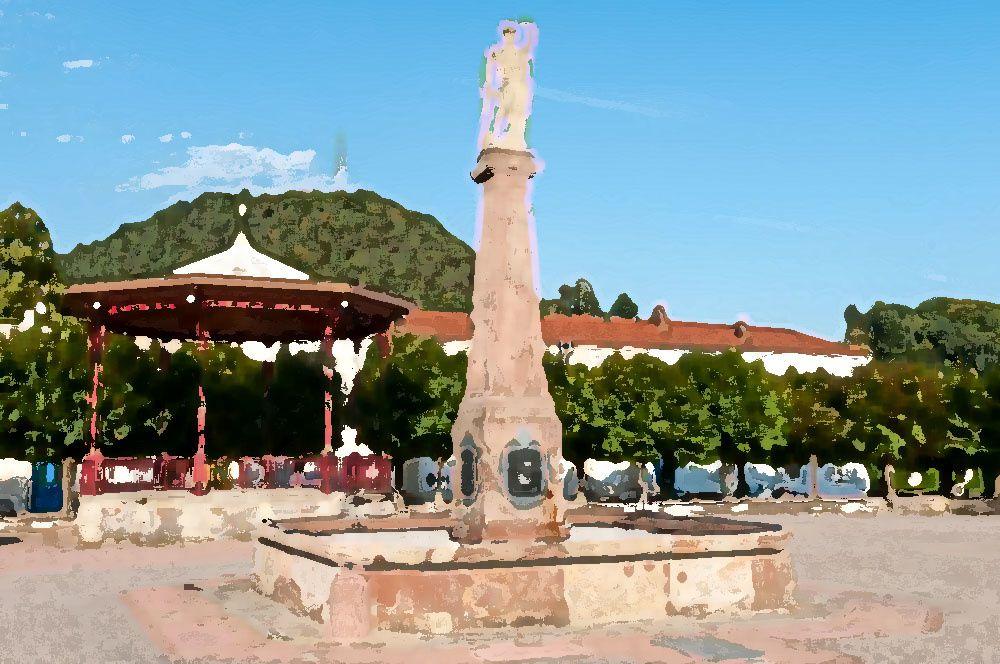 La Place Stanislas avec la Fontaine Neptune, le Kiosque à musique, le Monument aux Morts et le mont Avison en arrière plan