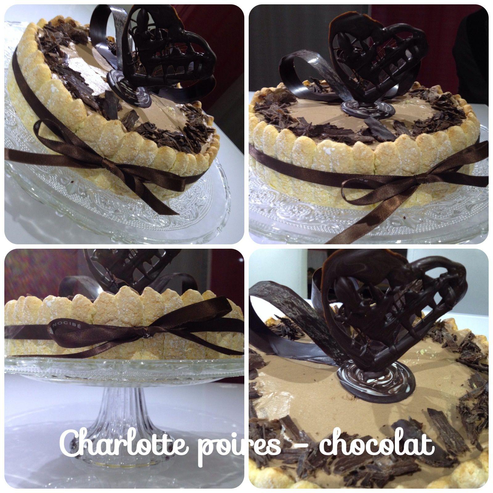 Charlotte aux poires - chocolat - CAP Pâtissier (biscuit cuillère maison)