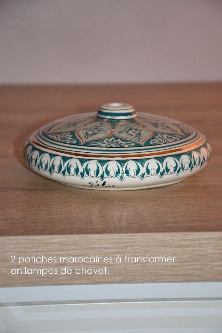 Montage de potiches marocaines et abat-jour réalisés pour des particuliers.