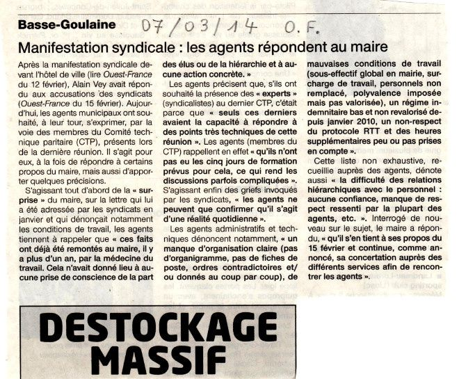 Article Ouest-France du 7 mars