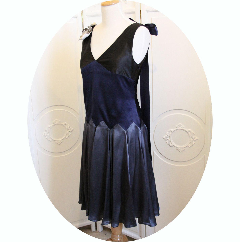 robe ann es 30 en satin de soie noire grise bleue anne sophie toniazzi. Black Bedroom Furniture Sets. Home Design Ideas