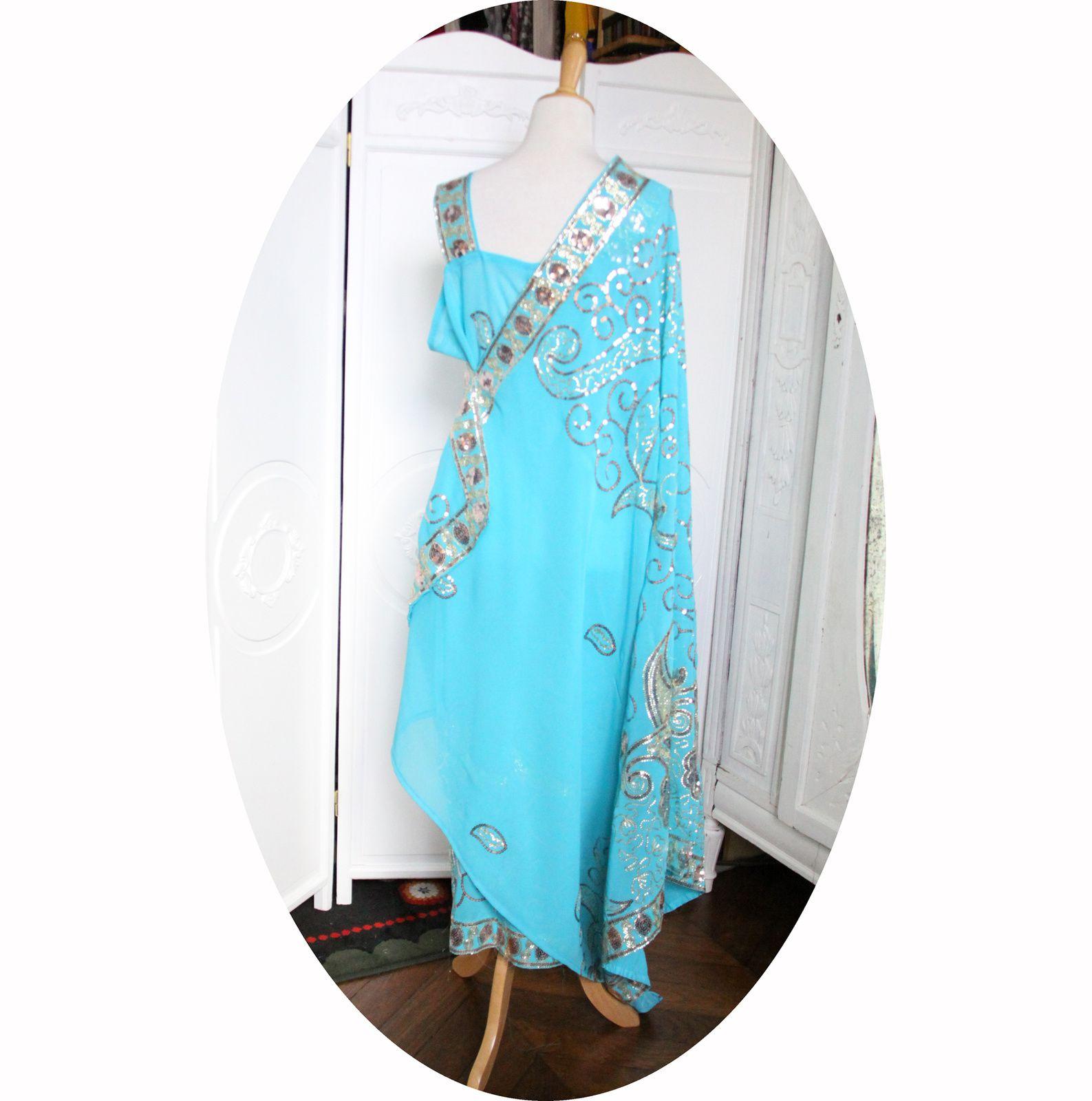 Robe longue sari bleue turquoise, robe indienne en voile bleu, sari indien brode