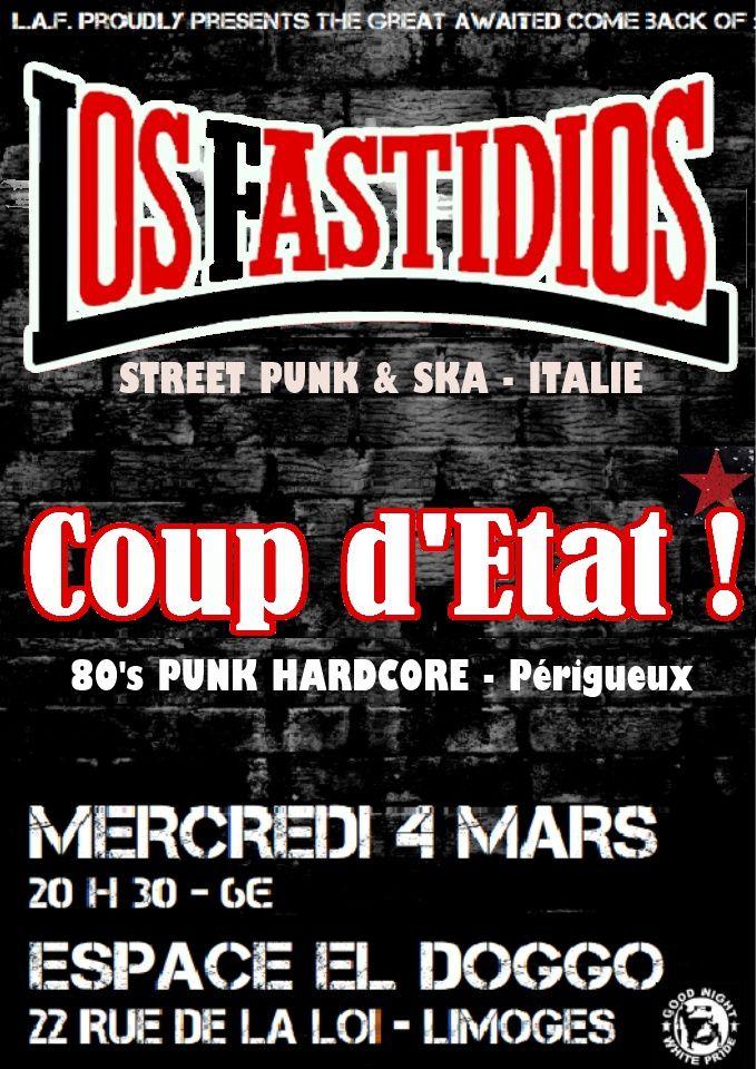 Concert: Los Fastidios + Coup d'Etat, à Limoges