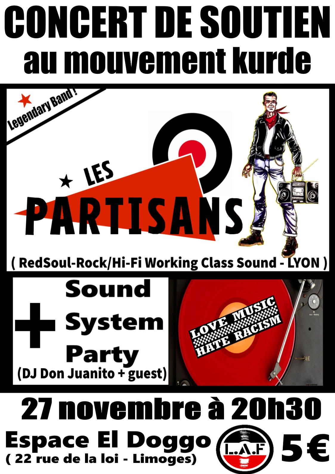27 novembre à Limoges, Les Partisans en concert !