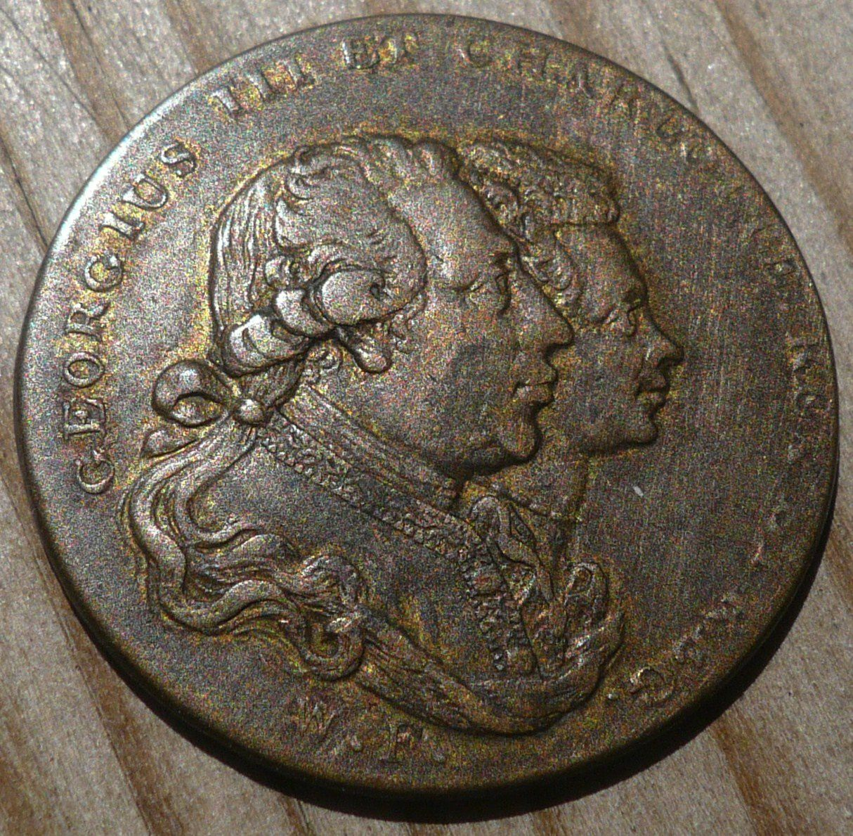 2 / 1134 : Farthing Graveur : W.F.-  PATRONS OF VIRTUE PRESENT FOR THE NEW YEAR 1790.