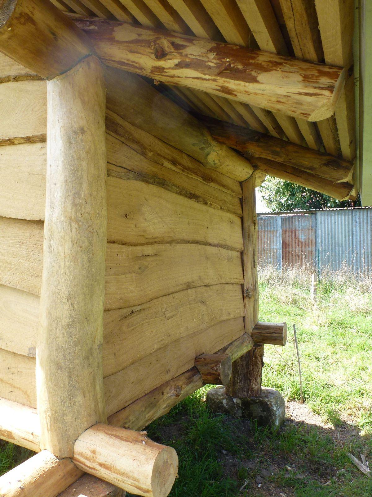 Débord de toit côté nord : une zone fraiche pour les siestes des poules cet été!
