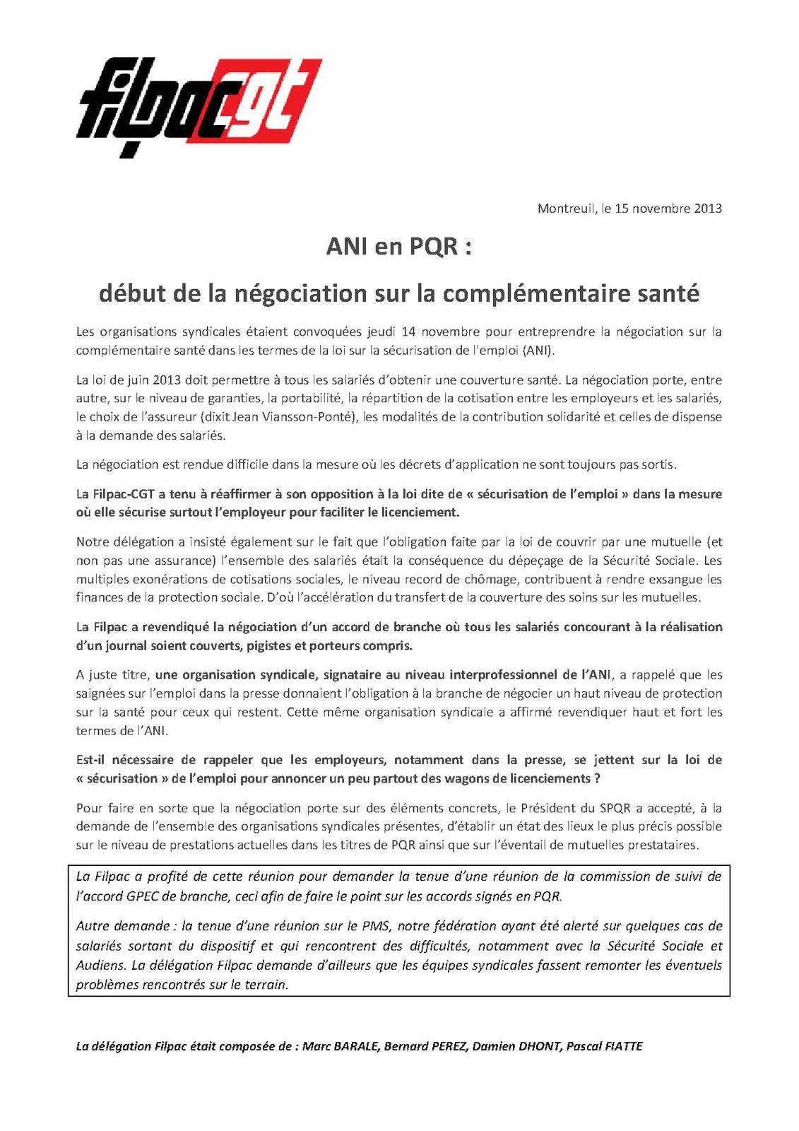 PQR: début des négociations sur la complémentaire santé