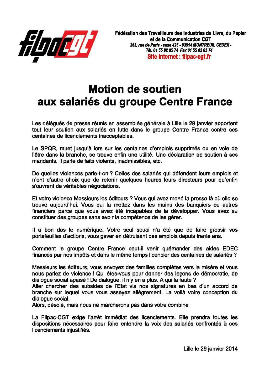 Motion de soutien aux salariés du groupe Centre France