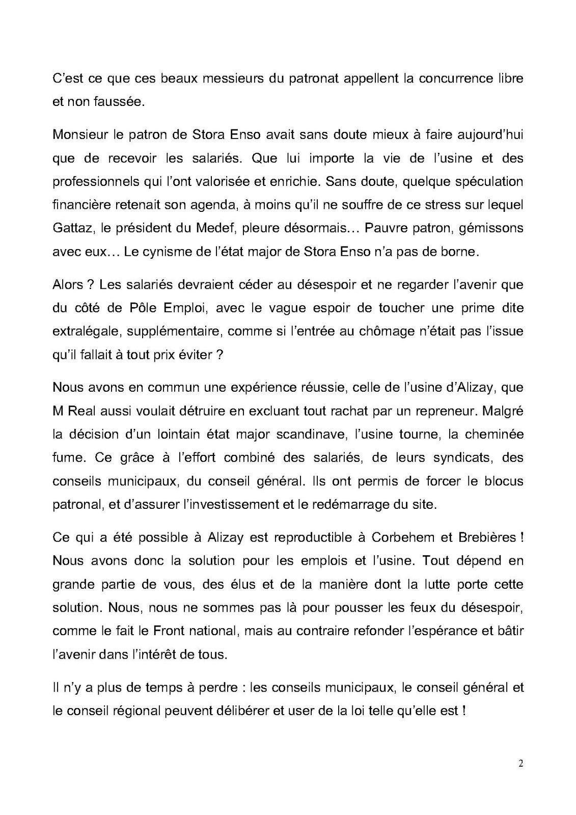 INTERVENTION DE MARC PEYRADE STORA ENSO LA DÉFENSE 20 FÉVRIER
