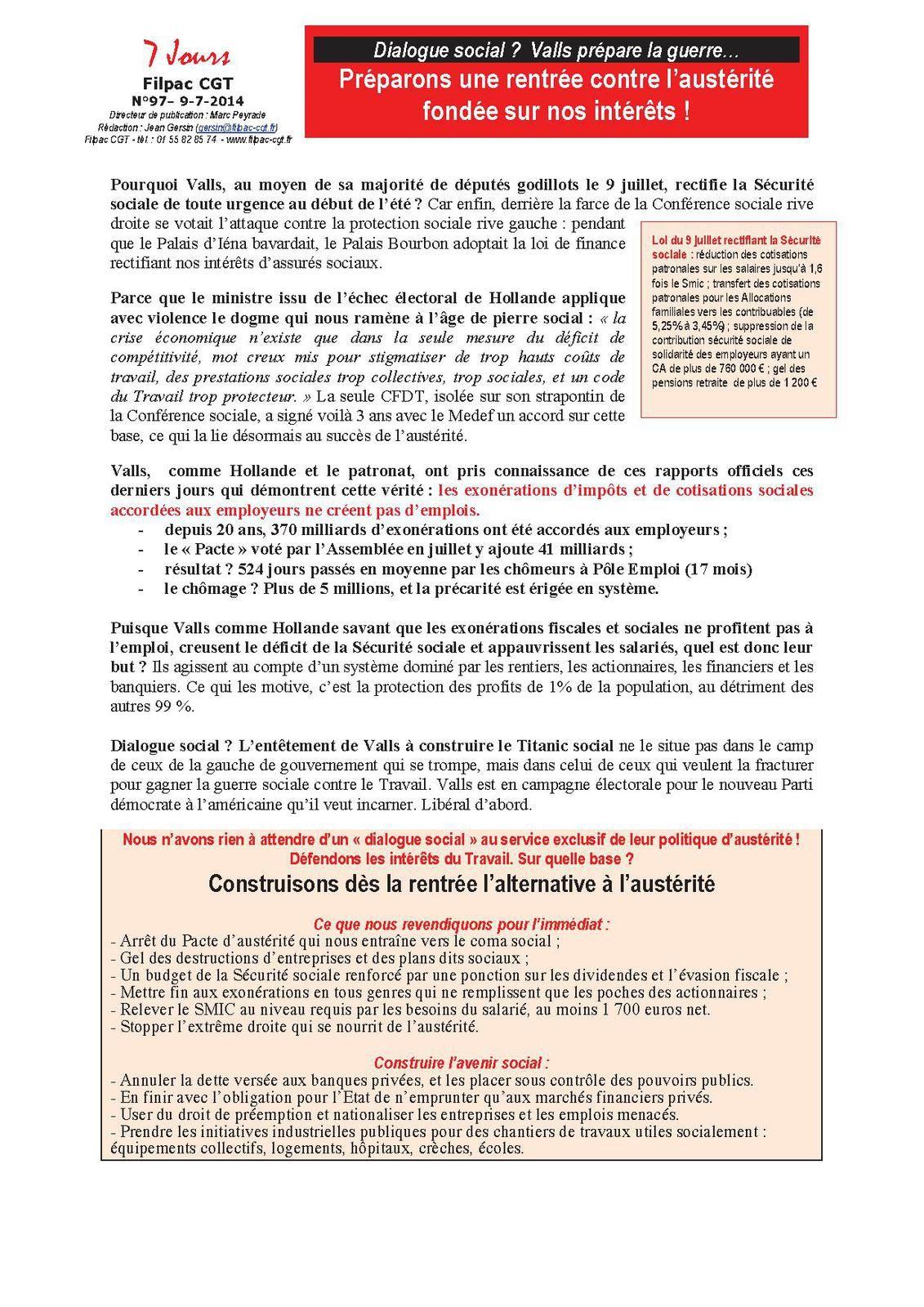 Dialogue social ?  Valls prépare la guerre… Préparons une rentrée contre l'austérité fondée sur nos intérêts !