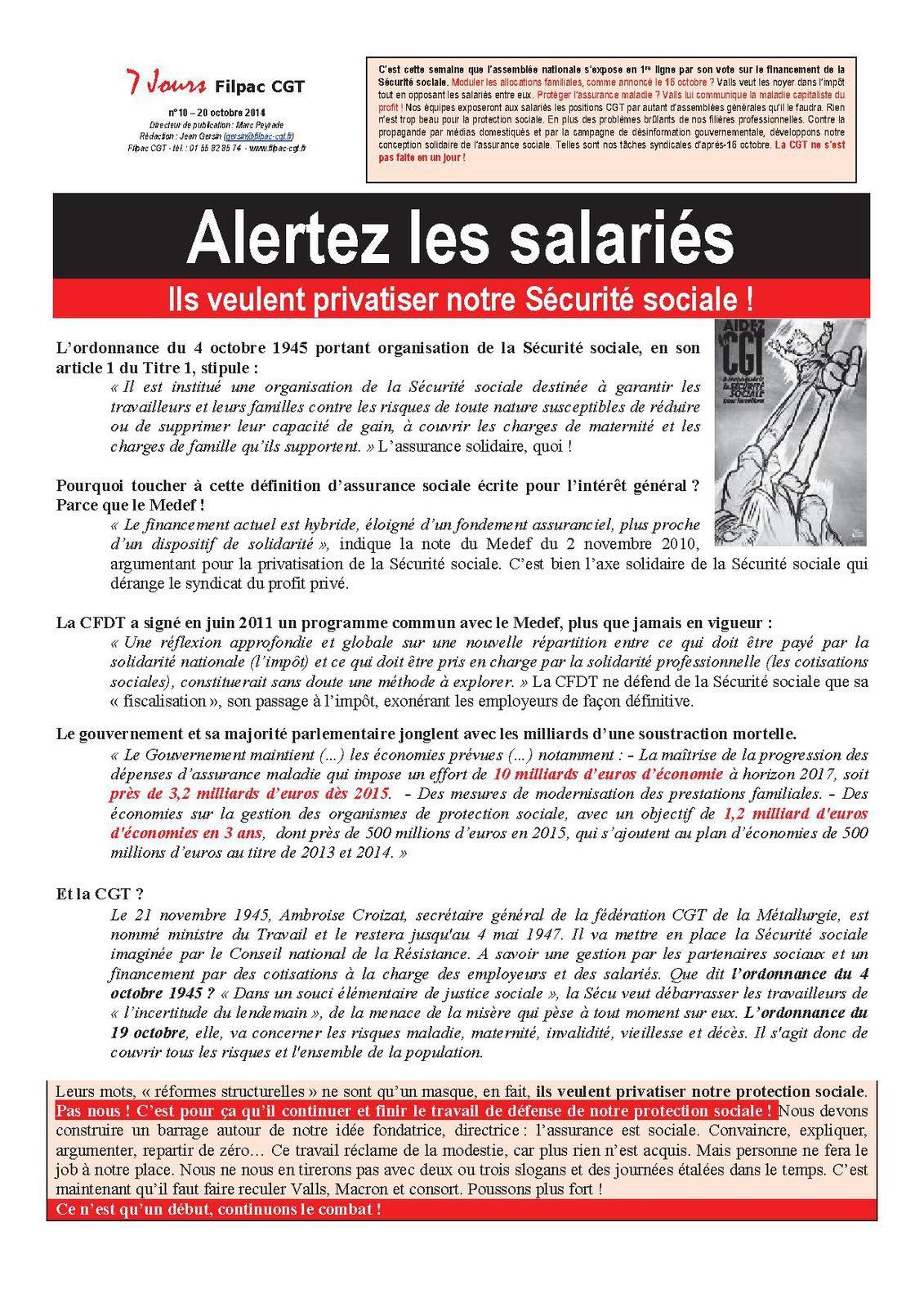 Alertez les salariés. Ils veulent privatiser notre Sécurité sociale!