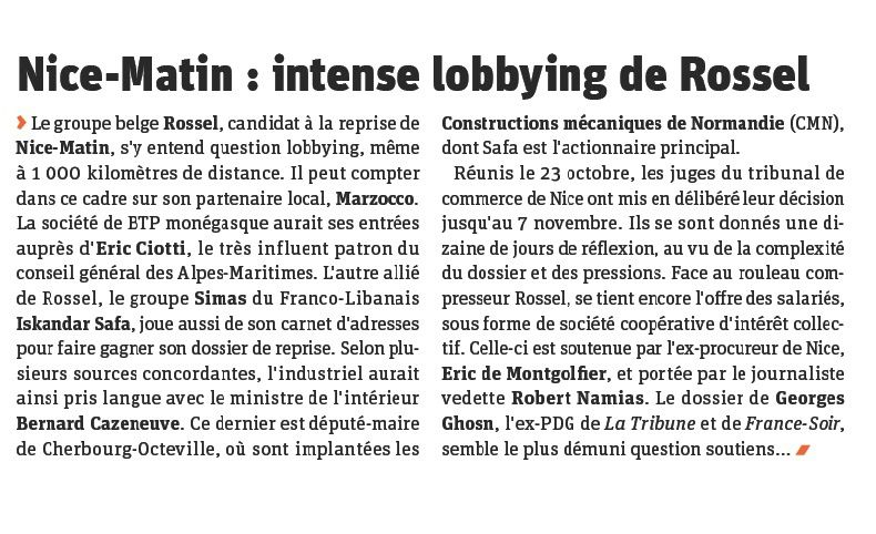 Nice -Matin: intense lobbying de Rossel (source Pressnews)