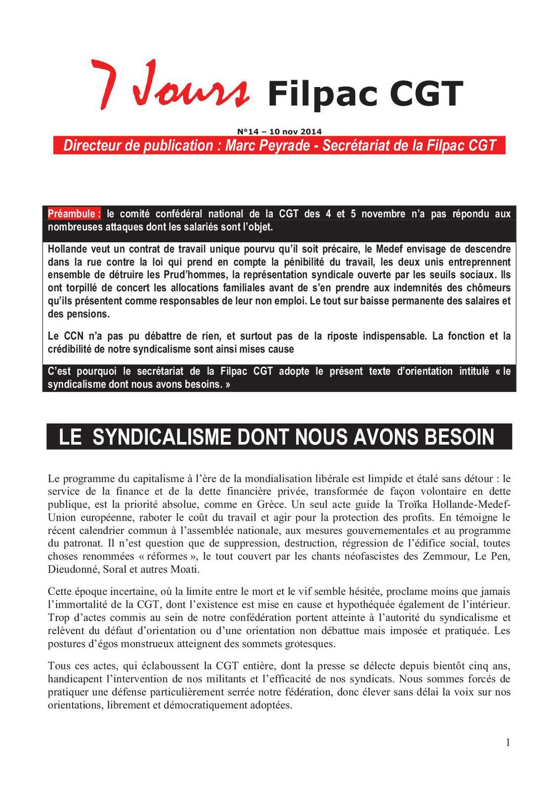 LE  SYNDICALISME DONT NOUS AVONS BESOIN