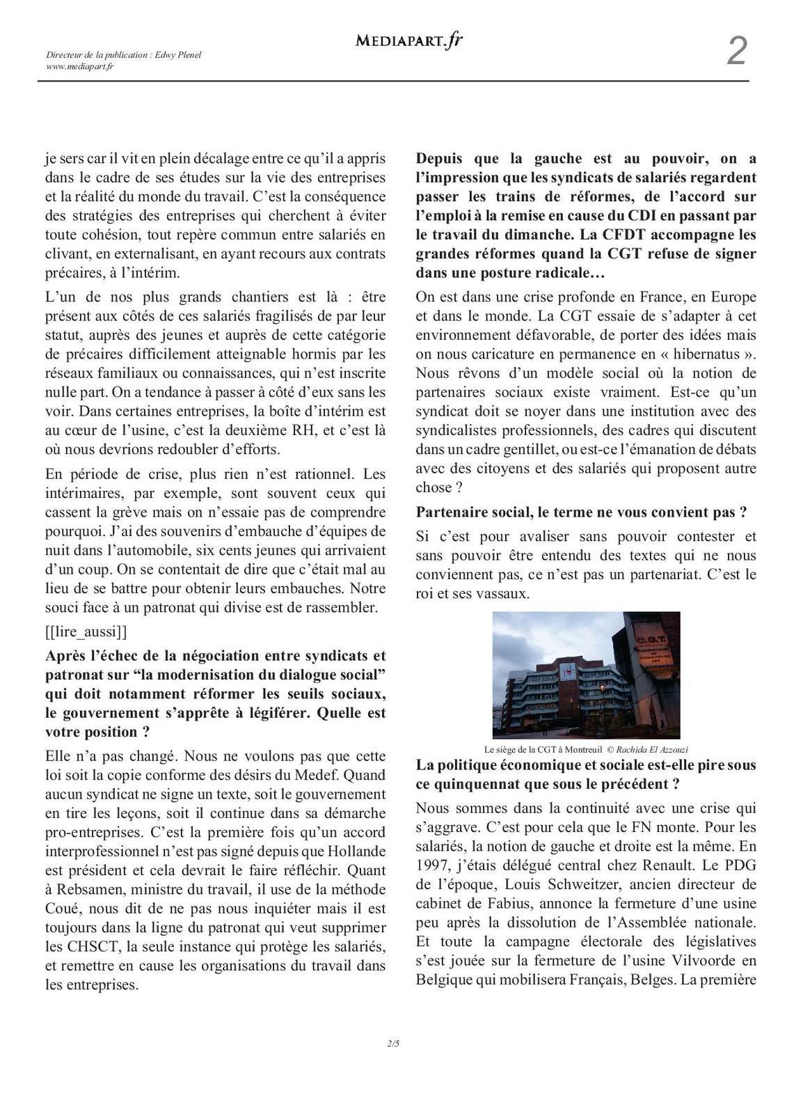 Philippe Martinez (CGT): «Nous devons être présents auprès des salariés précaires» (source Médiapart)