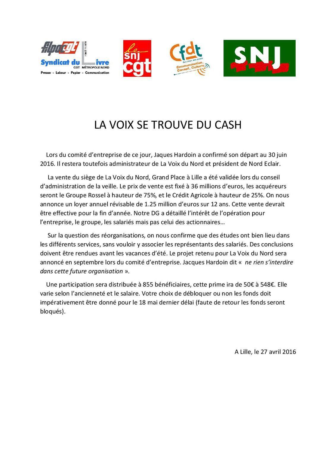 La Voix se trouve du cash (Intersyndicale VDN)