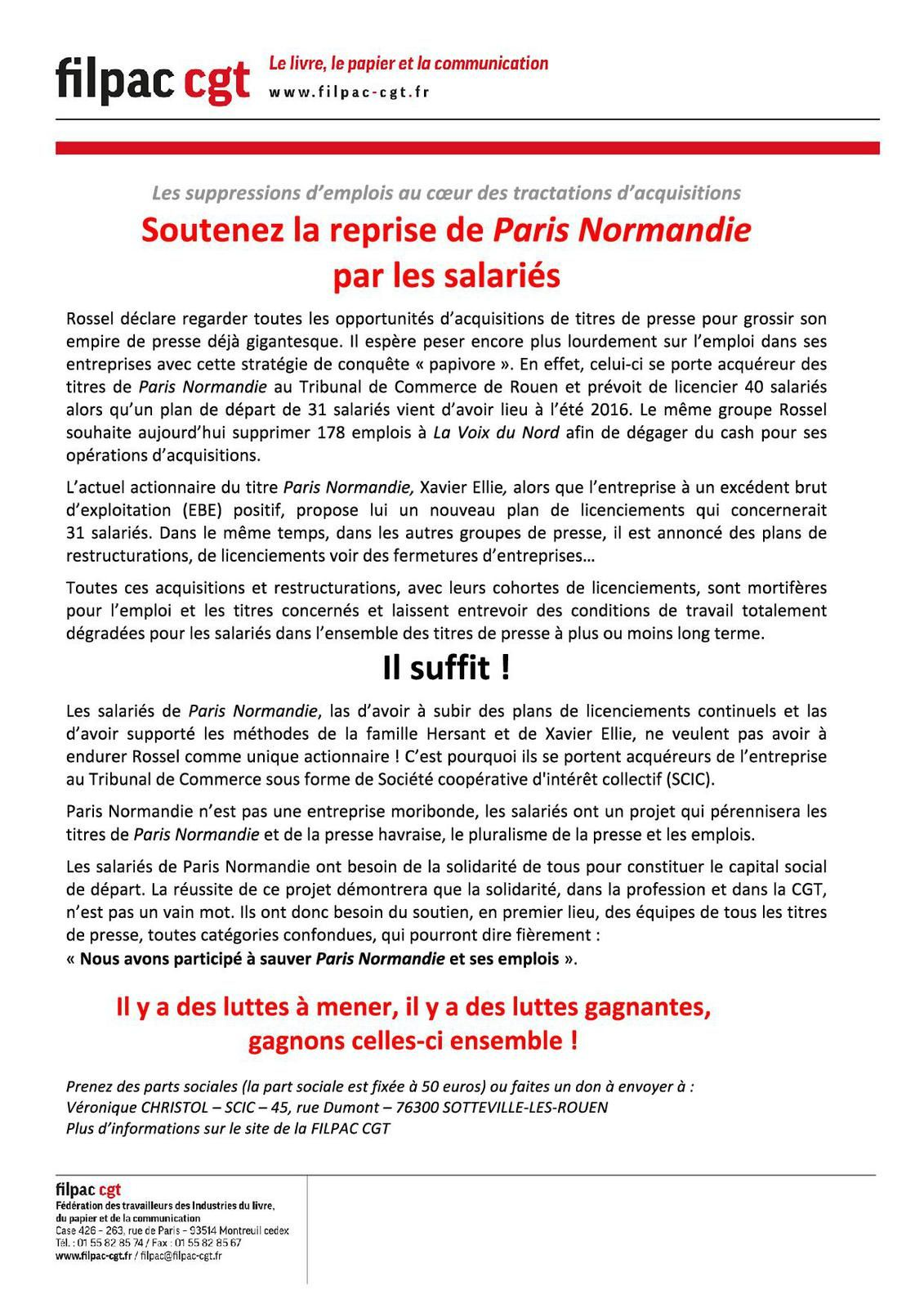 Le 26 janvier, Rendez vous à Rouen pour soutenir le projet des salariés de Paris Normandie