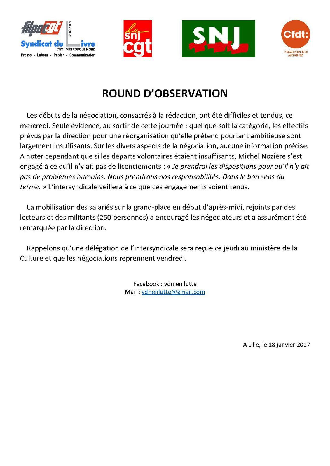 ROUND D'OBSERVATION (Intersyndicale VDN)