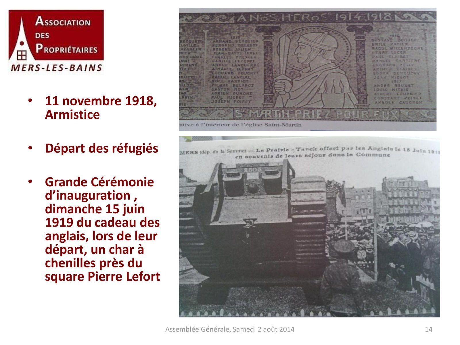 Présentation de Catherine GINER : L'Association des propriétaires de Mers-les-Bains pendant la première guerre mondiale 1914-1918