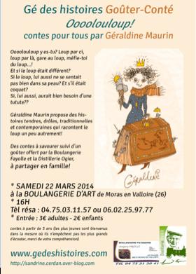 Samedi 22 mars à 16h Géraldine Maurin vient conter à la Boulangerie D'Art
