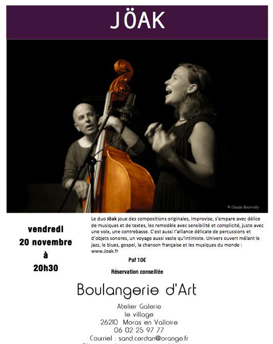 Duo Jöak vendredi 20 novembre 20H30