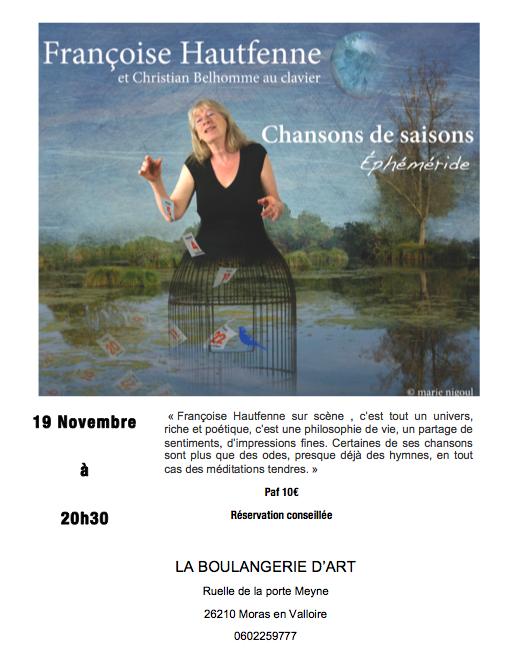 samedi 19 novembre  à 20h30 Françoise Hautfenne