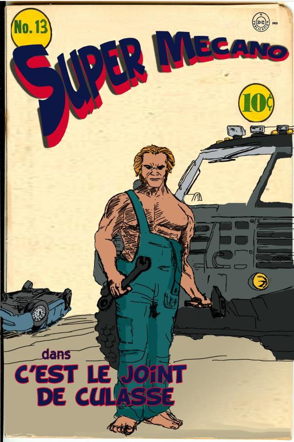 moi qui suis très lent je ne trouve pas le résultat très brilliant mais comme j'avais choisi de faire référence à une couverture d'un vieux Comic c'était peut être acceptable, ensuite je pense que l'humour facile a fait mouche...