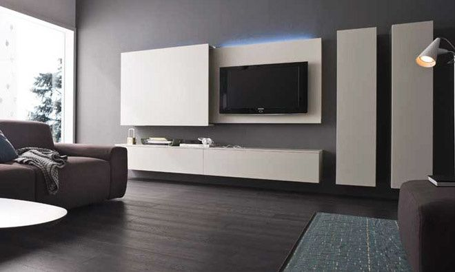 album 19 tv accroch e au mur ou int gr e s rie 2 changement de d cor autour de la t l. Black Bedroom Furniture Sets. Home Design Ideas