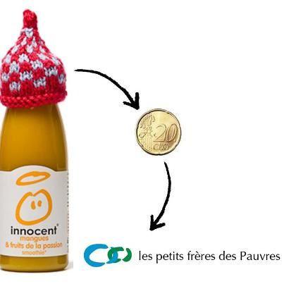 pour chaque bouteille vendue avec le bonnet, 0.20 cents seront reversés à l'association petits frères des pauvres, qui aident les  personnes âgés et autres