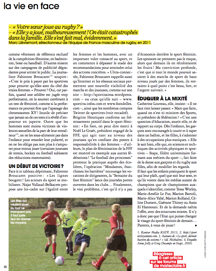 Sport : stop au sexisme ! Marie Claire, III-14