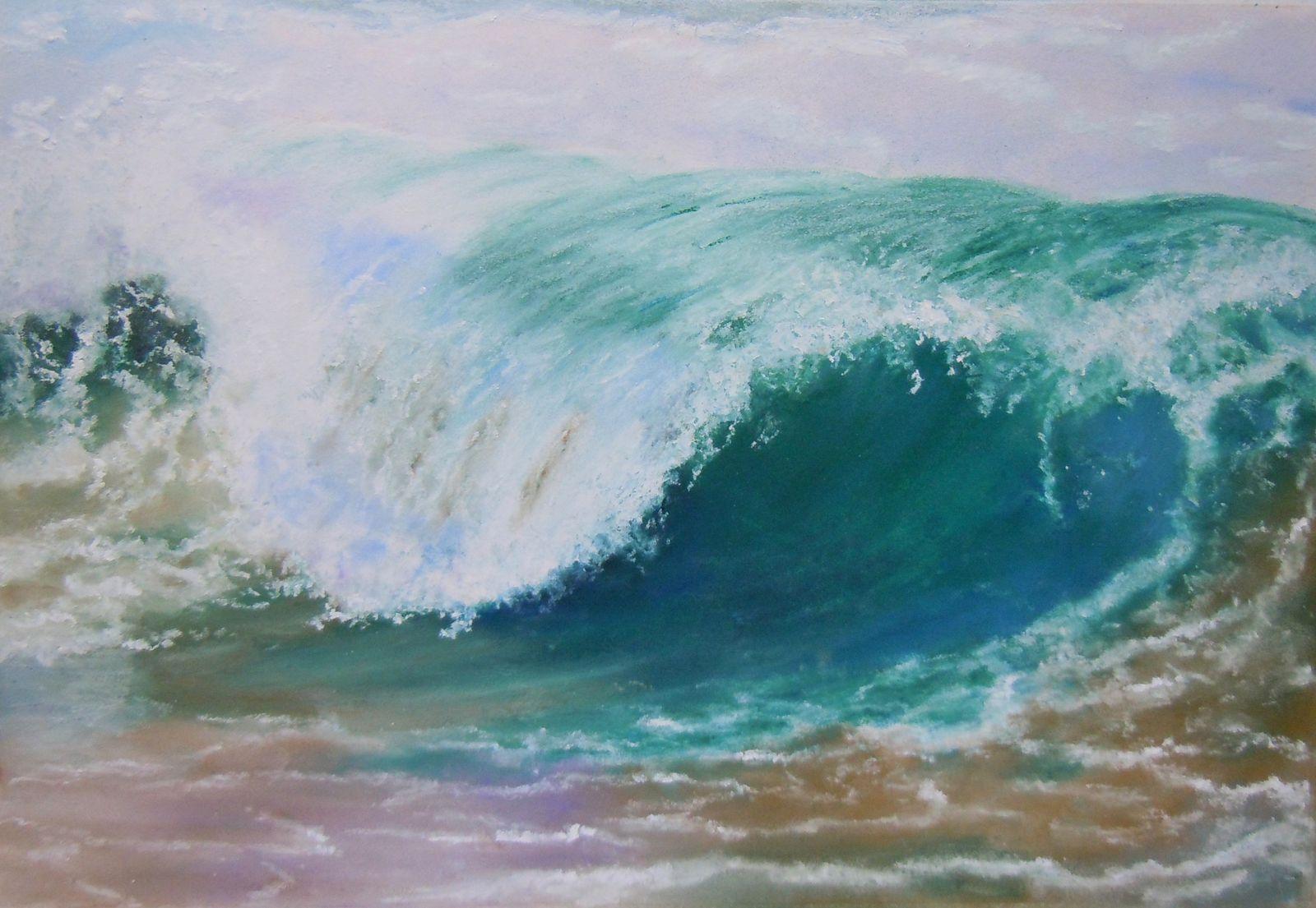 La vague pastel sec le blog agathe bonnet artiste - Dessin au pastel sec ...