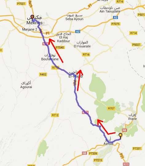 Itinéraire entre Marrakech et Ouazzane